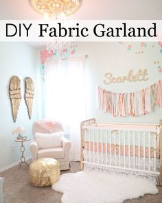 Easy DIY Fabric Garland - easy tutorial to recreate this cute nursery wall decor!