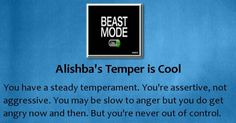 Check my results of How is your Temper? Facebook Fun App by clicking Visit Site button