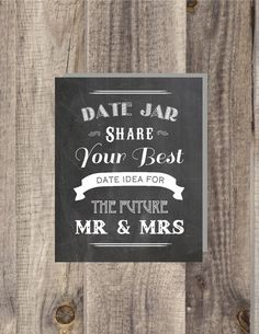 Instant Download Chalkboard Date Night Jar - Share Your Best Date Night Ideas for the Future Mr Mrs - Bridal Shower Sign - Wedding Sign on Etsy, $5.00