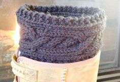 Intertwined Cable Boot Cuffs free pattern - threadedtogether.com