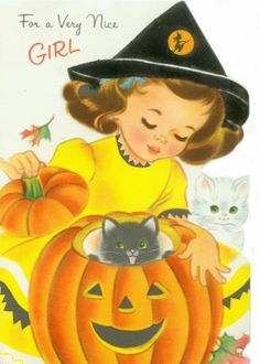 A charmingly sweet 1962 Norcross Halloween card. #vintage #1950s #1960s #Halloween #cards