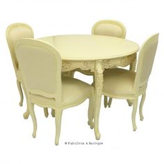 "Cherise 48"" Round Dining Table & 4 Chairs - Ivory www.fabulousandbaroque.com"