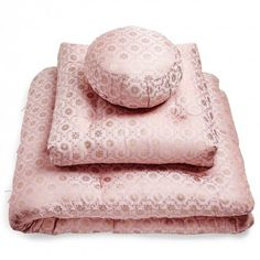Samadhi Pink Sari Meditation Cushions  Connect to your breath. Soft meditation cushions and a long mat are woven from ornate sari brocade and stuffed with natural kapok fibers. Layer, unfold, and relax in your personal sacred space.