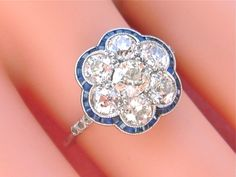 ESTATE ART DECO 2.28ctw MINE DIAMOND CLUSTER BLUE SAPPHIRE SCALLOPED FRAME RING  #ANTIQUEEDWARDIANtoARTDECOSTYLE