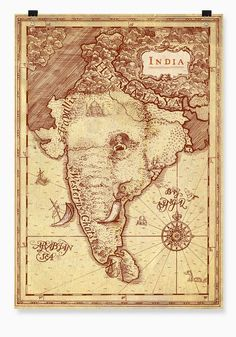 India as an elephant, map art. Vintage India, Vintage Maps, Antique Maps, Vintage Travel Posters, Ancient Maps, India Map, India Poster, Retro Poster, Map Globe