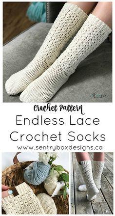 Ravelry: Endless Lace Crochet Socks pattern by Sentry Box Designs #crochetsocks #crochet #crochetpattern #lacesocks #crochetlace #lacestitch #socks