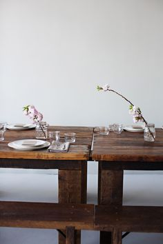 Sunday Suppers simple spring table setting with cherry blossoms.