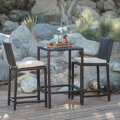 Outdoor Coral Coast South Isle All-Weather Wicker Dark Brown Balcony Height Patio Bistro Set - HW1812 DK BROWN