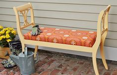 Spend an afternoon putting your basic carpentry skills to work with this dining chair hack. A pair of vintage chairs becomes a lovely entryway perch in the how-to, Build an Outdoor Bench From Dining Chairs.  Give guests another DIY project to admire by Creating an Entry Bench With Pipe Fittings.  Make over an existing entry bench by following our directions on Creating a Pickled Finish on Wood.