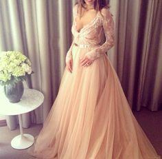 Blush, lace and organza wedding dress