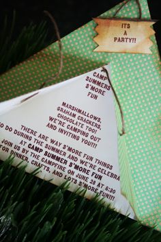 """Camping party invitations ... also love the """"s'mores on a stick"""""""