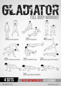 Gladiator Workout: This site has 100 amazing no equipment workouts. Free phone and tablet download, also a paperback copy you can purchase from Amazon for $10 Make sure to check out our fitness tips, nutrition info and more at www.getyourfittog... #exerci