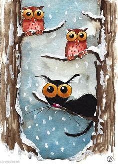 ACEO Original watercolor Folk Art whimsy Stressie cat owl snow fall tree three