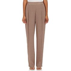 Stella McCartney Women's Medallion-Print Silk Pants (43.160 RUB) ❤ liked on Polyvore featuring pants, pleated front pants, silk trousers, stretch waist pants, stella mccartney pants and tapered leg pants