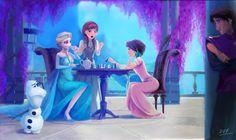 Rapunzel and Eugene visit Arendelle. EUGENE STOLE OLAF'S NOSE!!!