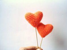 Wedding Cake Topper Crochet Orange Hearts Set of 2 by AllSoCute