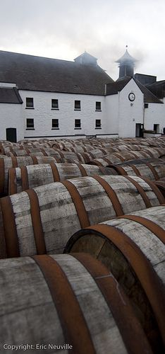 Laphroaig Distillery by eric.ca, via Flickr. A full one of those barrels would do nicely, thank you.