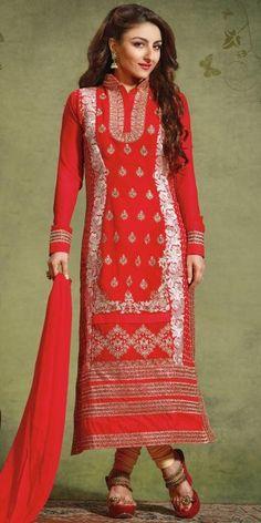Soha Ali Khan Georgette Straight Salwar Kameez in Red Color.