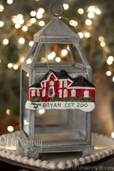 How to make your own Personalized DIY House replica Christmas Ornaments made from Polymer Clay and @DecoArt Inc. Inc. Inc. paint