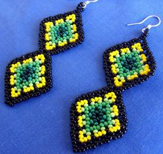 Mexican Huichol Beaded earrings #mexican #huichol #jewelry #beads