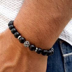 Check out this item in my Etsy shop https://www.etsy.com/listing/236262311/free-shipping-mens-bracelet-matt-black