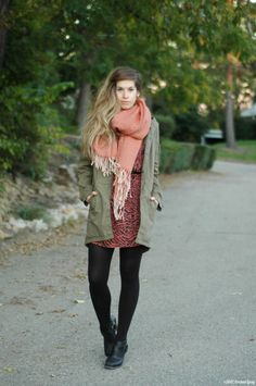 """@Julie Sharp of """"Orchid Grey"""" tops off her layered fall look with UO's olive surplus jacket #urbanoutfitters"""