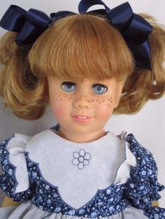 CHATTY CATHY Blonde Pigtail Navy Calico Handkerchief Dress TALKS FREE SHIPPING #Mattel #DollswithClothingAccessories