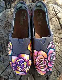 Hand painted Rose Gem Tom Shoes by InSensDen on Etsy, $89.00