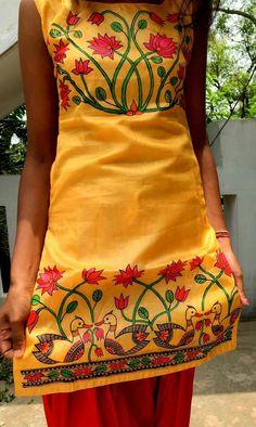 Fabric painting Worli Painting, Dress Painting, Dress Drawing, Fabric Painting, Fabric Art, Saree Painting Designs, Fabric Paint Designs, Fabric Design, Hand Painted Sarees
