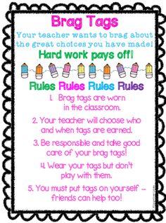 FREEBIE Brag Tag Anchor Chart in Spanish & English Classroom Behavior Management, Behavior Plans, Behavior Charts, Class Management, Anchor Charts, Classroom Charts, Classroom Decor, Brag Tags, Whole Brain Teaching