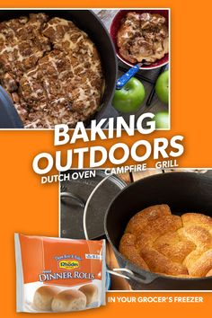 This summer take Rhodes Bake-N-Serv® along for your summer adventures. Our dough goes beyond the kitchen oven and into the dutch oven! Try our Caramel Apple Pie or Buttery Breadsticks! Iron Skillet Recipes, Cast Iron Recipes, Grilling Recipes, Cooking Recipes, Beef Recipes, Recipies, Open Fire Cooking, Oven Cooking, Dutch Oven Recipes