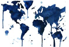"World Map Series by Jessica Durrant, It's a Blue Blue World print version sized 16 x 20"" // LOVE!"