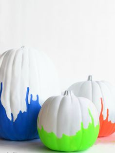 Bright neon painted pumpkins (make it even more interesting by using glow in the dark paint!)