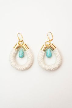 Rope Earrings - Turquoise Drop Gem Ornamental Stone - Gold Brass - Mint Blue Ivory Cream Cotton Rope on Etsy, $25.00