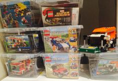 Lego set organization.  Dollar store bins to keep the Lego sets organized so they can be built more than once.