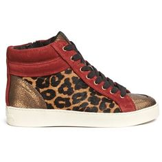 Sam Edelman 'Britt' leopard calf hair leather combo sneakers ($205) ❤ liked on Polyvore featuring shoes, sneakers, animal print, wedge heel sneakers, leather high top sneakers, metallic wedge sneakers, leather shoes and hi top wedge sneakers