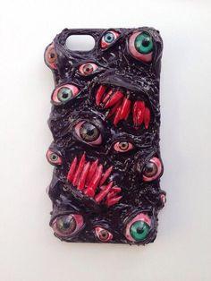 Handmade decoden phone case /surreal/custom /horror phone case/ eyeball/ punk/ psychohilly/ vampire phone case /iphone 5 case from Wicked Shadow Iphone 5s, Iphone Phone Cases, Phone Cover, Decoden Phone Case, Diy Phone Case, Punk, Biscuit, Horror, Vampire
