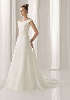 Satin A-line Off The Shoulder Cap Sleeves Fishtail Floor-length Wedding Dress