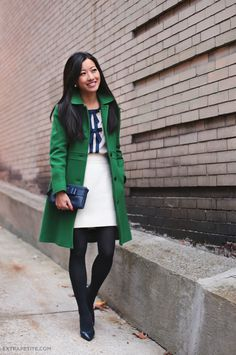 ExtraPetite.com - Green lady day coat and navy bows