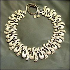 Monet Jewelry Vintage Gold Necklace 1970s Rare Satin Fringe