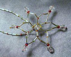 Silver Rainbow Star Seed Bead and Crystal Ornament or suncatcher by TriannasTreasures