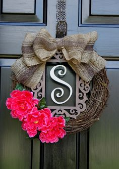 Spring Wreath - Summer Wreaths for door - Burlap wreath - Monogram Wreath - Summer Wreath - Door Wreath - Wreath for Door - Country Cottage via Etsy