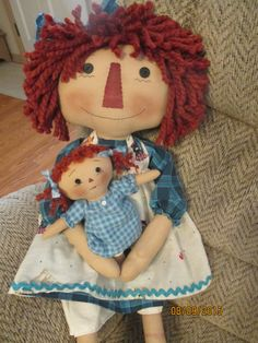 Large Raggedy with her raggedy little dolly by craftystitchers on Etsy