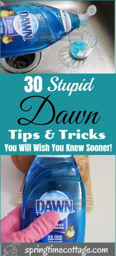 30 Secret Dawn Hacks You won't Believe You Never Tried - There are several ways to use this dawn dish soap that many people have not even thought of before. Diy Home Cleaning, Household Cleaning Tips, Homemade Cleaning Products, Cleaning Recipes, House Cleaning Tips, Spring Cleaning, Deep Cleaning, Cleaning Hacks, Cleaning Items