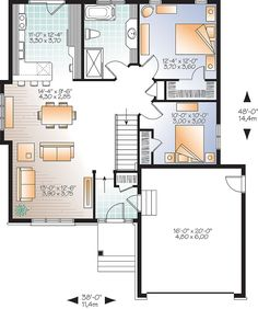 Two Bedroom Open Concept - 22422DR | Architectural Designs - House Plans