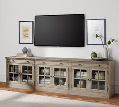 Livingston Large TV Stand with Glass Doors, Gray Wash