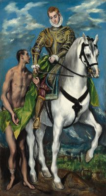 Saint Martin and the Beggar, 1597/99, El Greco: Saint Martin of Tours is depicted with his symbolic attributes, a horse, armour, a sword, his cloak and the beggar with which he shared his cloak. (National Gallery of Art, Washington, DC)