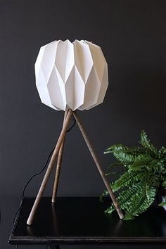 Tripod Table Lamp, White Shade with Wooden Legs - View All - Sale