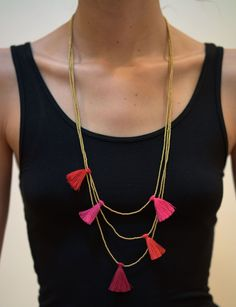 Fair Trade Hand Made Gold Color Beads Necklace With Pink Tassels – Harem Pants