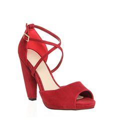 Office Penelope Banana Heel X Front Red Suede - High Heels